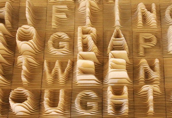alphabet typography sculpture by Synoptic Office