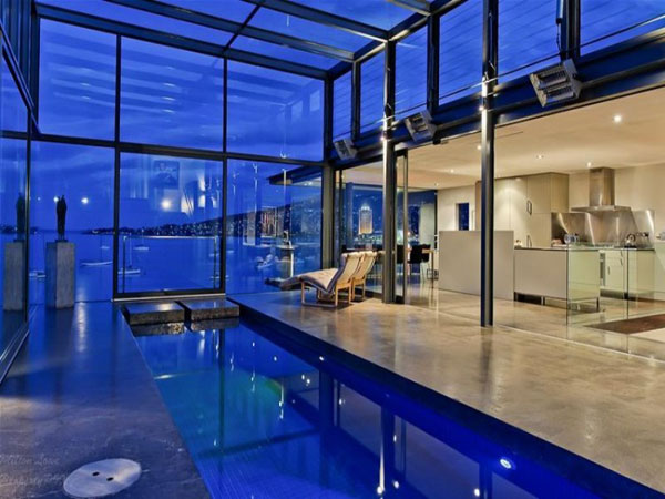 glass house architecture inside