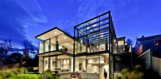 glass house architecture outside