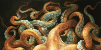 Contessa with Squid - Painting with oil on panel by Omar Rayyan