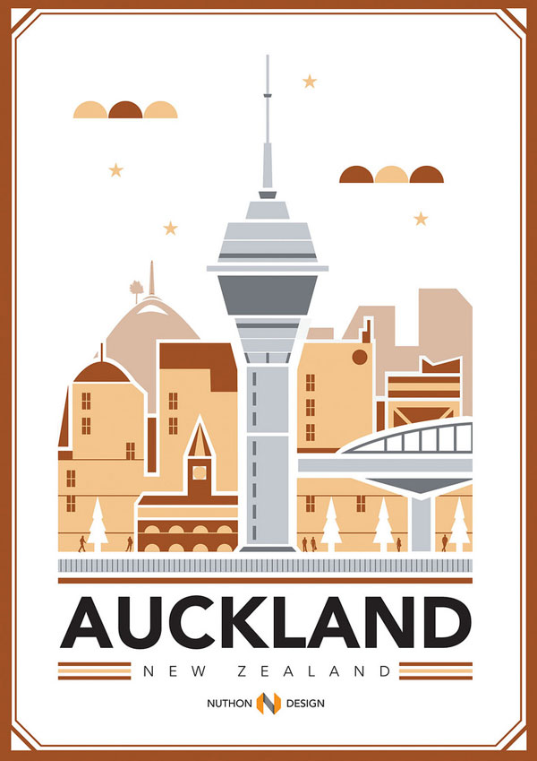 Auckland City Illustration by Nuthon Phengsathon