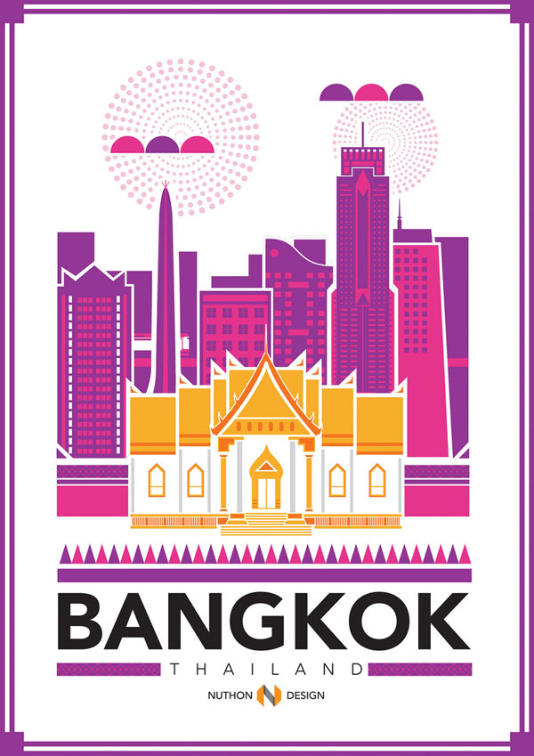 Bangkok City Illustration by Nuthon Phengsathon