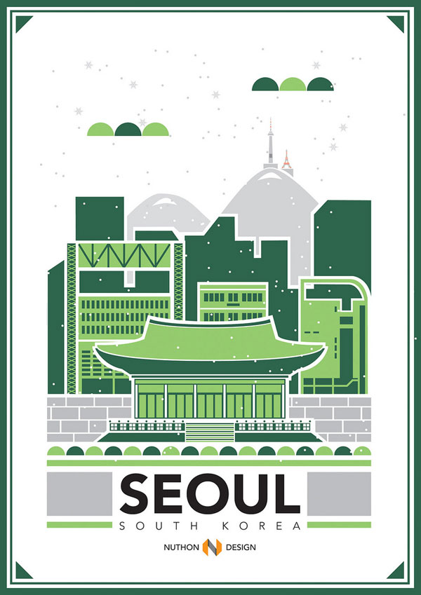 Seoul City Illustration by Nuthon Phengsathon