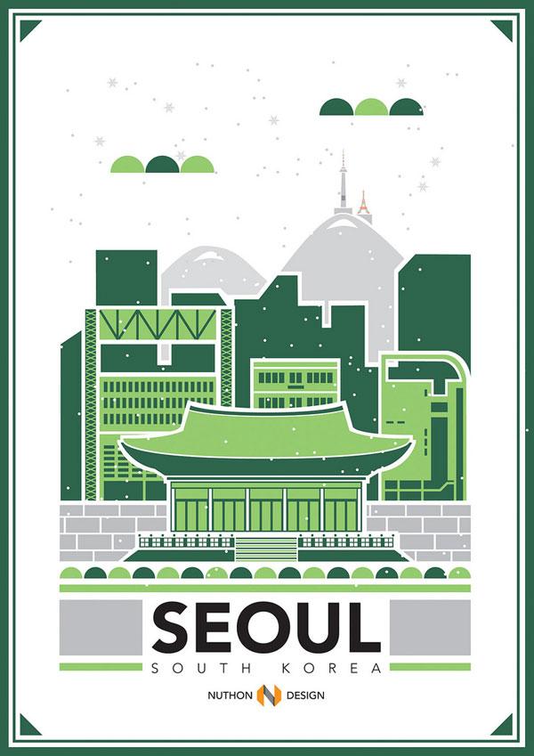 Seoul City Illustration by Nuthon Phengsathon