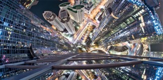 The night view of Busan as fisheye