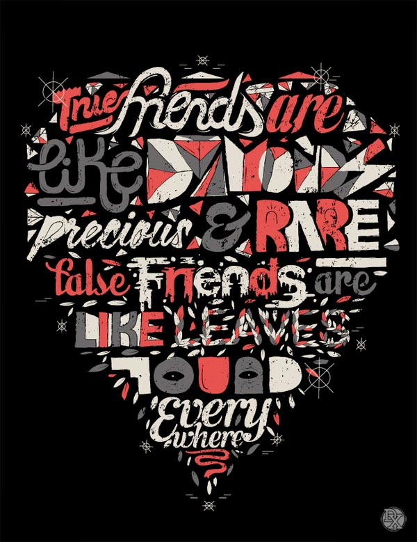 Typographic heart illustration by dxtr for Company t shirt design inspiration
