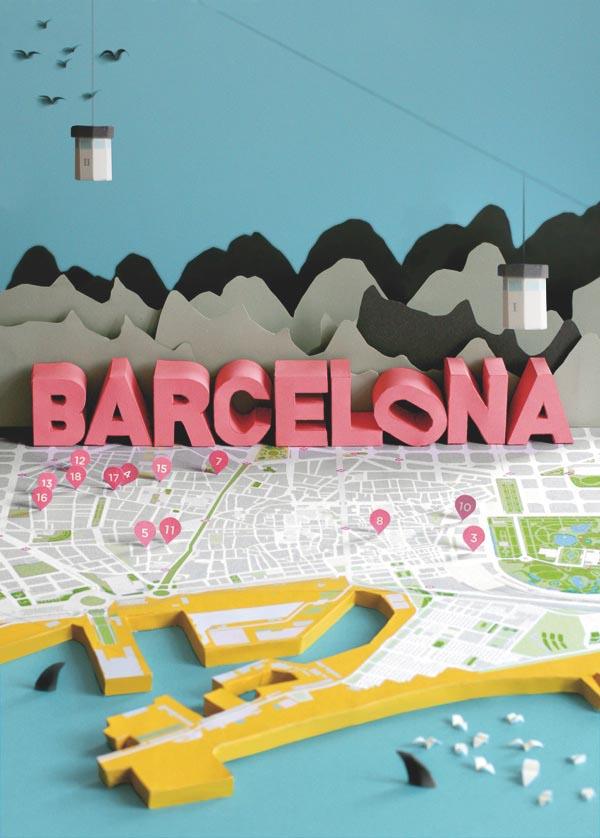 Barcelona 3d Papercraft City Map By Anna Harlin