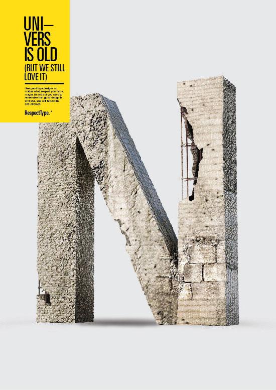 Concrete Styled RespectType - Univers by Miguel de la Garza