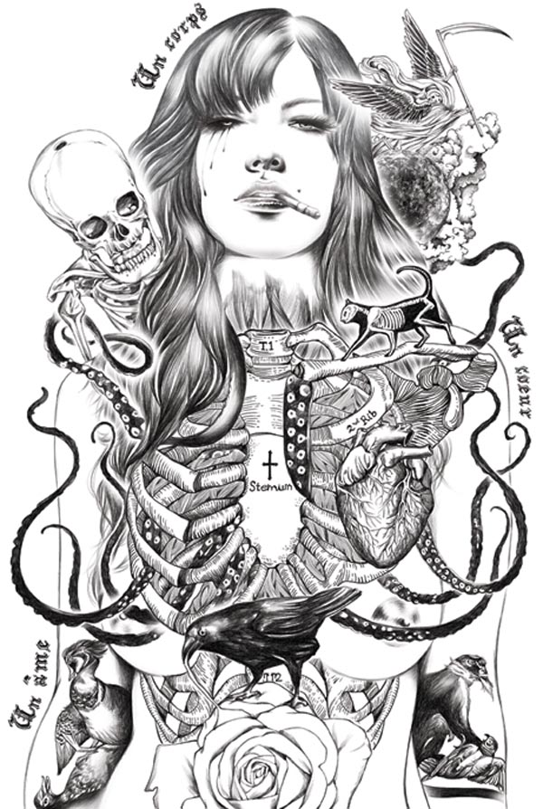 Illustrations by ise ananphada for Substance abuse tattoos