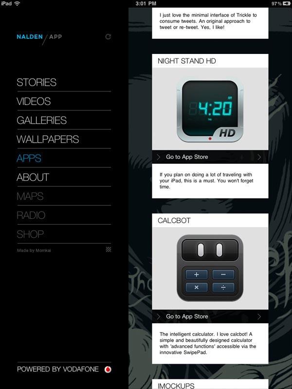 Nalden iPad App - UI Design by Momkai
