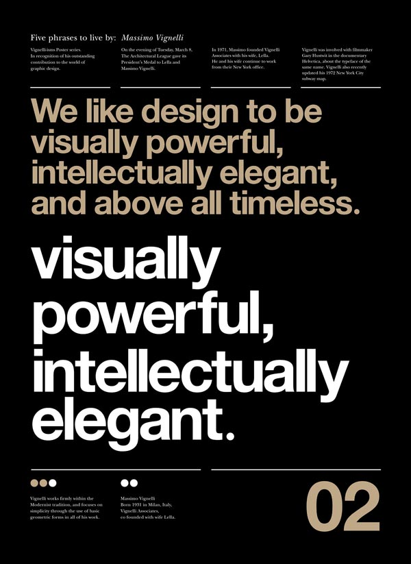 Typographic Posters by Anthony Neil Dart with quotes by by Massimo Vignelli