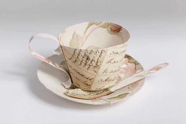 Teacup - Papercraft Sculptures by Jennifer Collier