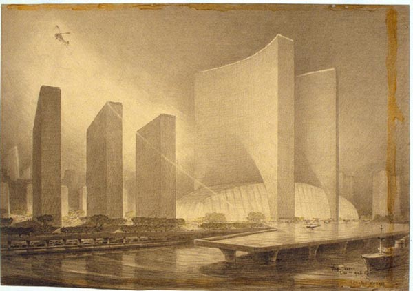 Architectural Drawings of Futuristic Buildings by Hugh