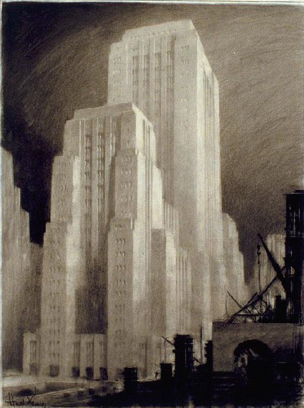 Interior Design Drawings Sketches: Architectural Drawings Of Futuristic Buildings By Hugh Ferriss