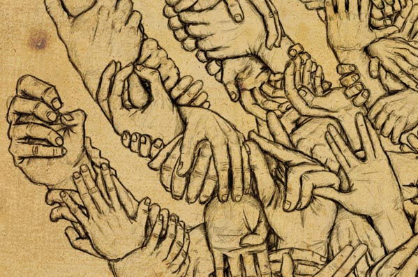 Hands in Hand - Drawing by Pezcado - Julien Poisson (close up)
