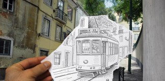 Pencil vs Camera - Tram 28 in Lisbon