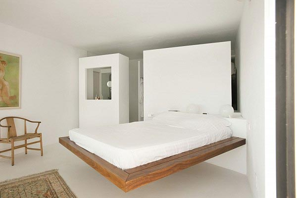 Bedroom with Wooden Bed - White Ibiza Villa