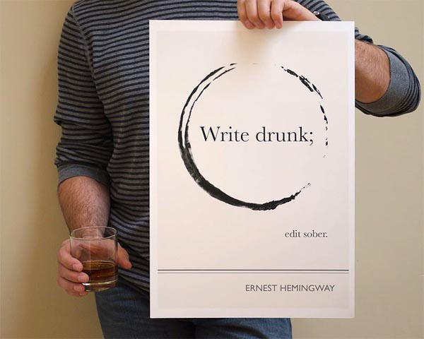 Book Quote Ernest Hemingway Poster Illustration by Evan Robertson