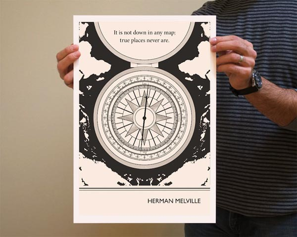 Book Quote Herman Melville Poster Illustration by Evan Robertson