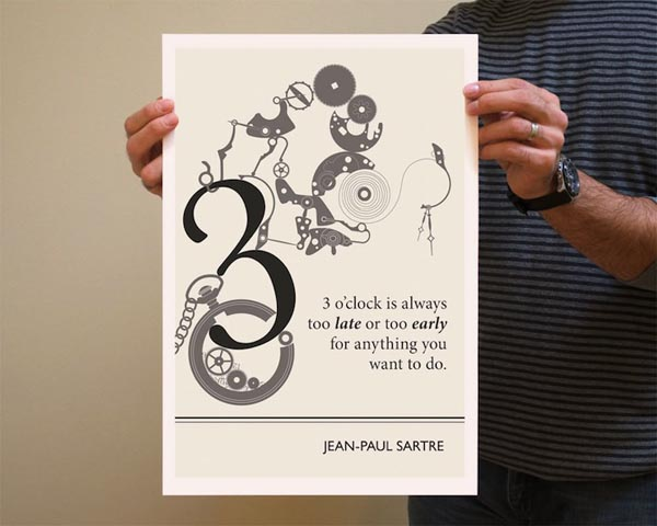 Book Quote Jean-Paul Sartre Poster Illustration by Evan Robertson