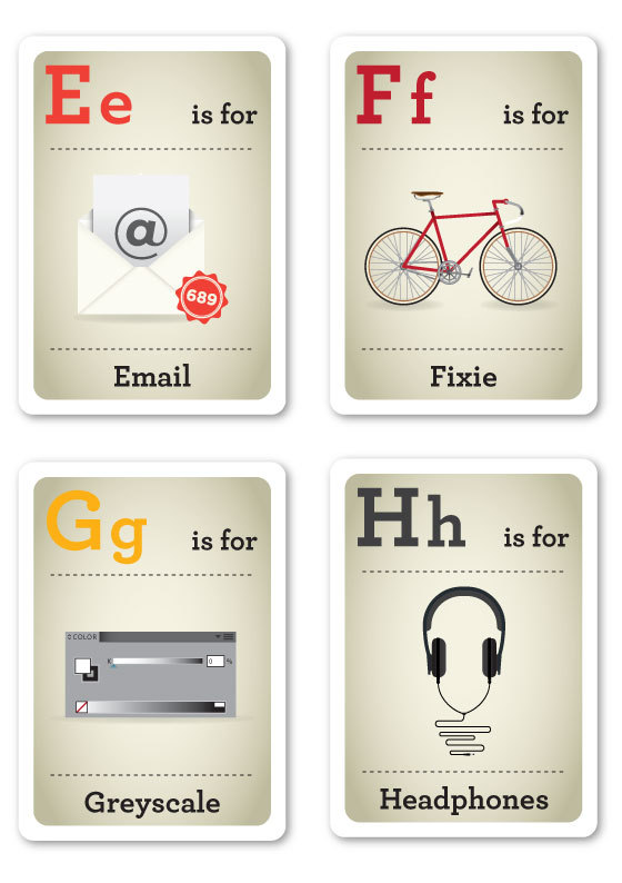 Designer Nerds - Alphabet Flash Cards E-H