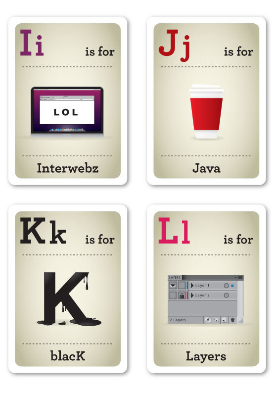 Designer Nerds - Alphabet Flash Cards I-L