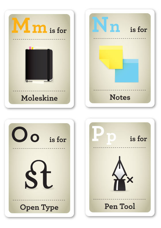 Designer Nerds - Alphabet Flash Cards M-P