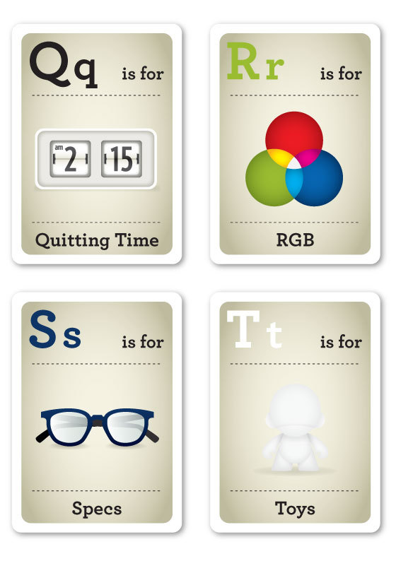 Designer Nerds - Alphabet Flash Cards Q-T