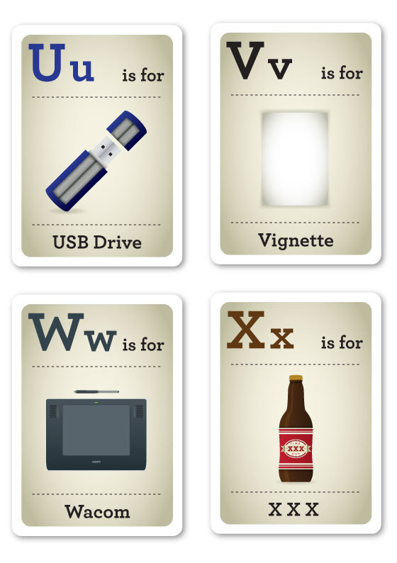 Designer Nerds - Alphabet Flash Cards U-X