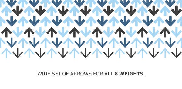 Signika Typeface - Arrows for all 8 Weights