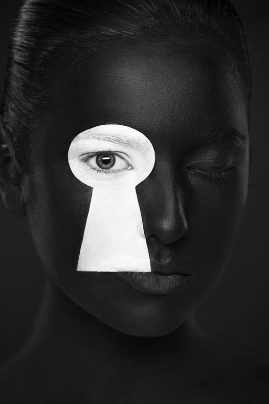 Weird Beauty - Black and White Portrait Photography and Face-Art