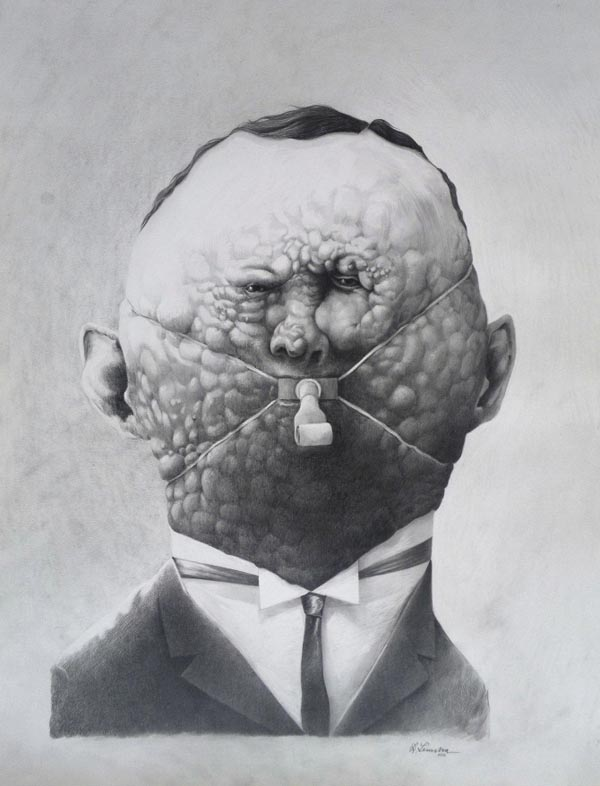 Creepy Illustrated Portrait by Raymond Lemstra