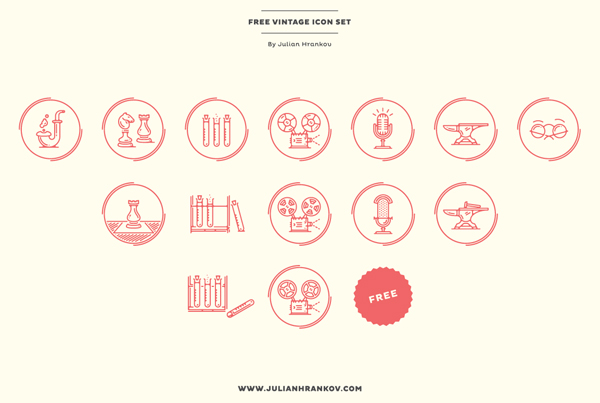 Free Vintage Icon Set by Julian Hrankov - Free Download!