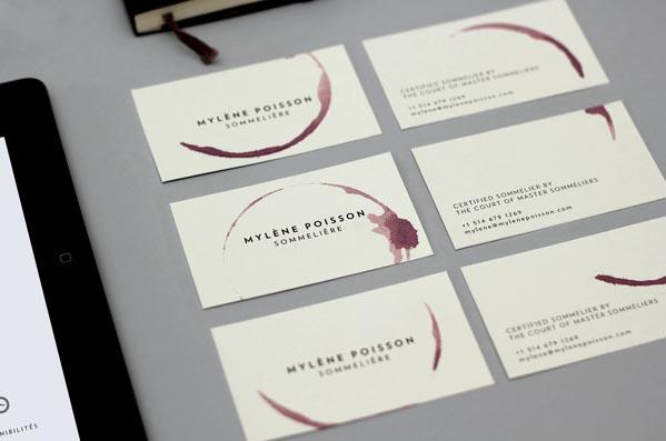 Mylene Poisson, Sommelier - Custom Business Cards by CASERNE