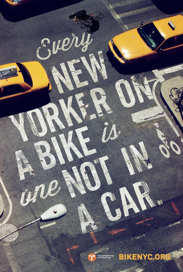 New York City - Typographic Bicycle Campaign
