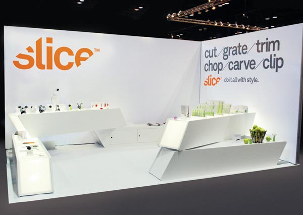 Simple Exhibition Stand Here Alone : Slice logo identity and packaging design by manual
