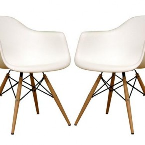 Set of two Baxton Studio Fiorenza White Plastic Armchairs with Wood Eiffel Legs