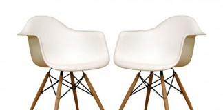Set of two Baxton Studio Fiorenza White Plastic Armchairs with Wood Eiffel Legs