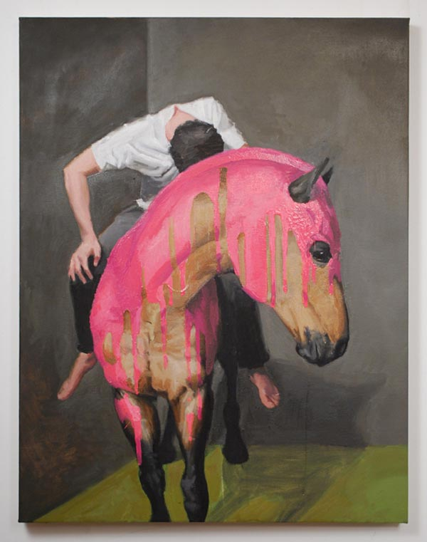 Figure with Painted Horse - Oil on Canvas by Russ Noto