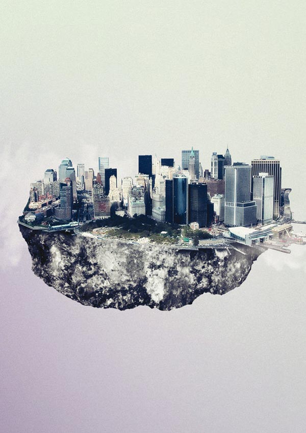 Floating City Island - Manhattan New York - Digital Art by Reinhard Krug