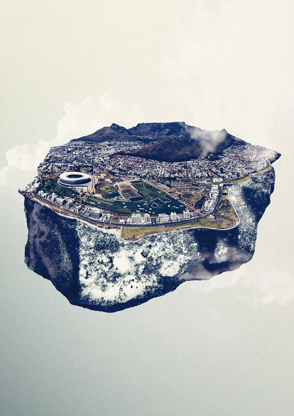 Floating City Island Cape Town - Mixed Media Artwork by Reinhard Krug
