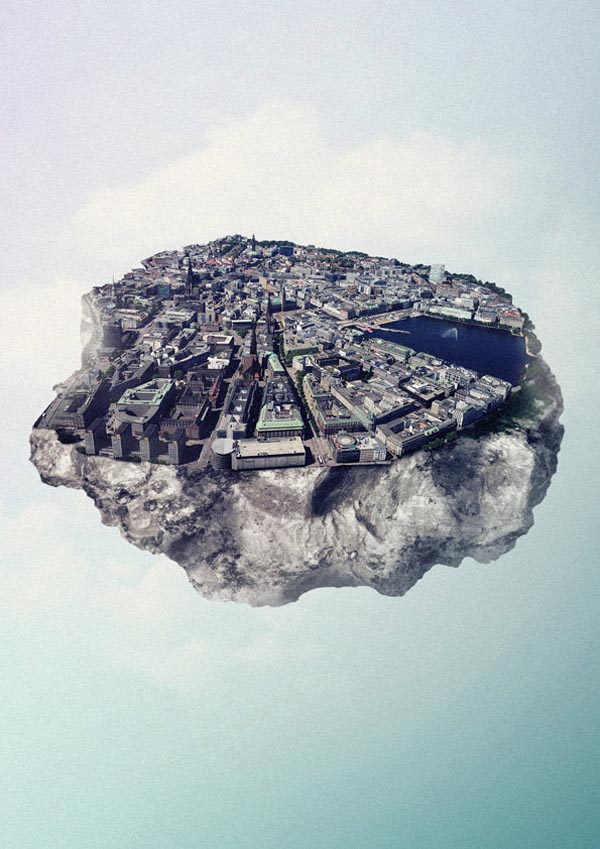 Floating City Island Hamburg - Digital Art by Reinhard Krug