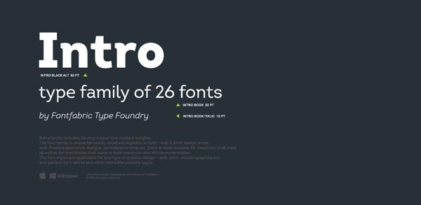 The modern Intro font family from type foundry FontFabric includes a variety of unique font styles and weights.