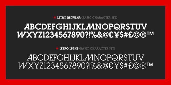 Letro Font  - modern slab serif typeface
