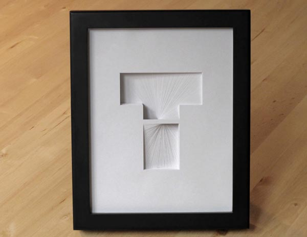 Letter T for Tom - Typographic Paper Artwork by Bianca Chang