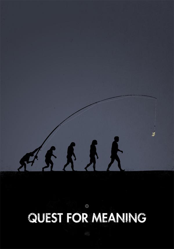 Quest for Meaning - Human Evolution Illustration by Meantis