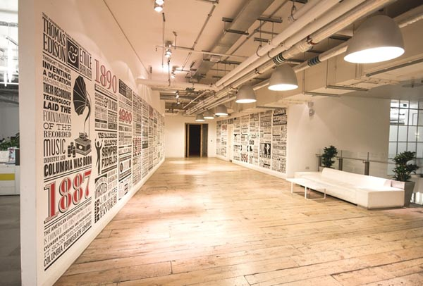 Sony Music Timeline - Typographic and Illustrative Wall Design by Alex Fowkes