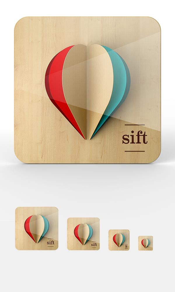 """iOS Icon Proposal Work by Omar Puig for """"sift"""" app"""