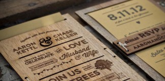 laser cut engraved Wedding Invitation by Chase Kettl