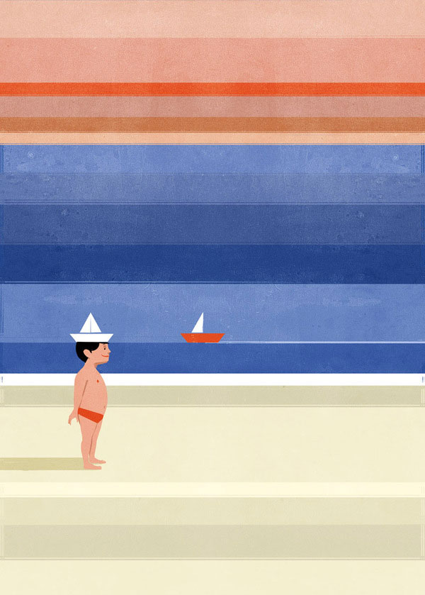 Beach Wall llustration by Alessandro Gottardo for Wall & Deco